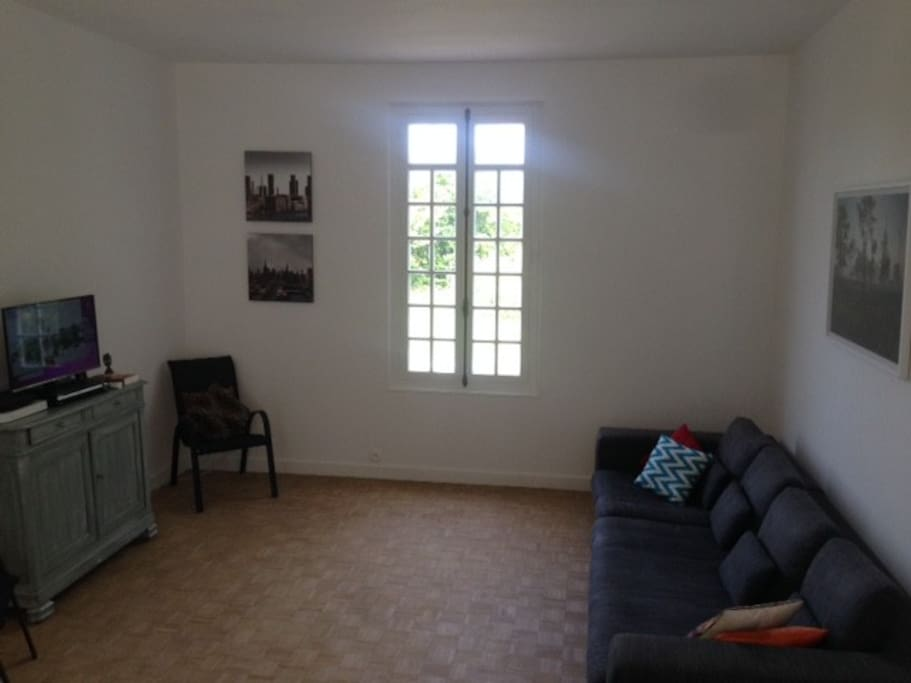 Living area with cable TV and DVD players. Free wifi all over the house