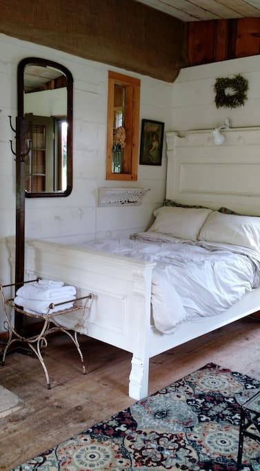 Cozy Vintage Bed with soft cotton sheets