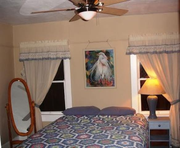 Front bedroom with queen bed plus daybed in a curtained alcove.
