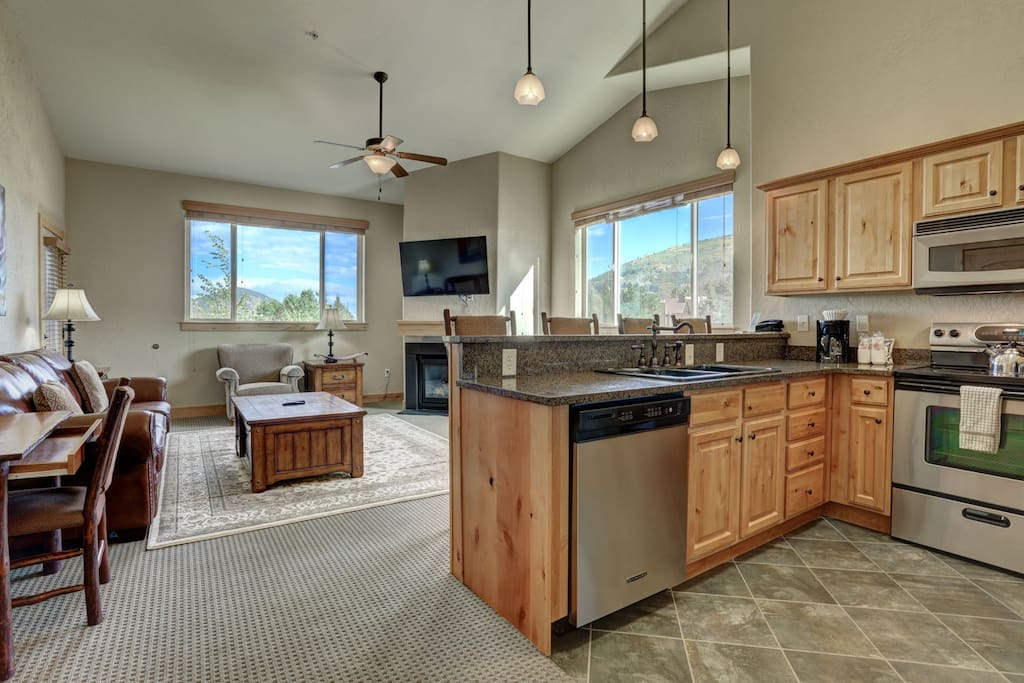Full Kitchen and view of Living Room