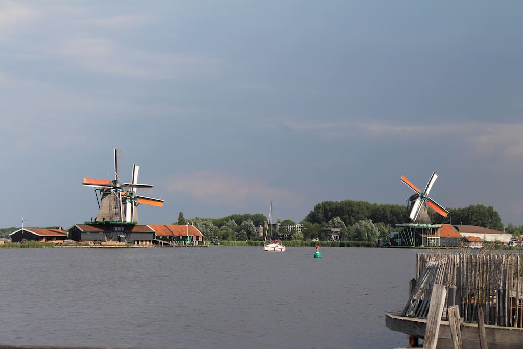 Windmills at river  Zaan.