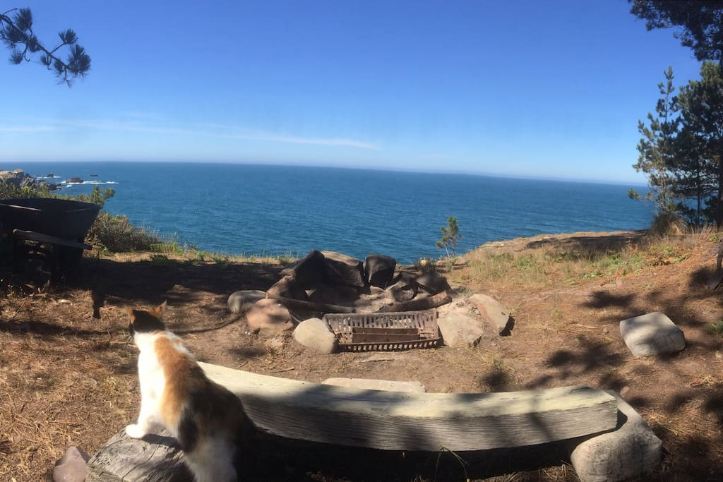Private firepit overlooking the ocean