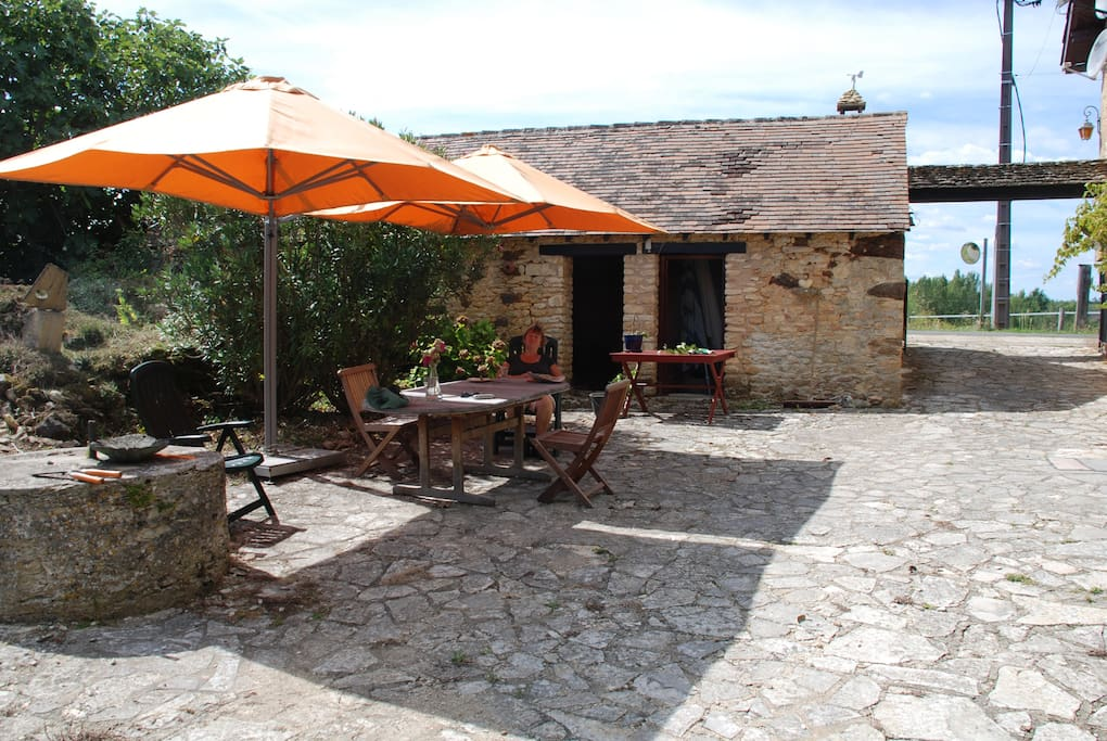 Stone courtyard at the south