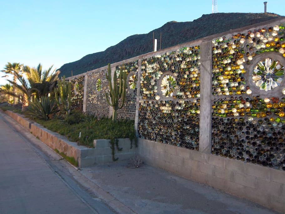 Landmark Wine Bottle Wall.  Directly across from our entry.
