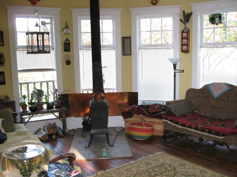 Sunroom/living area with wood stove