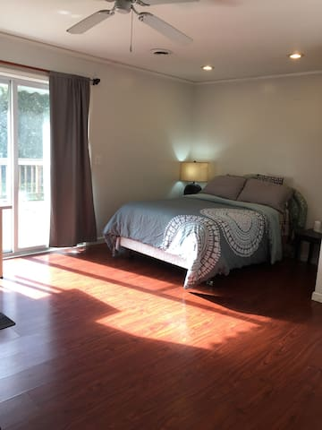 Spacious bedroom with big deck in the backyard