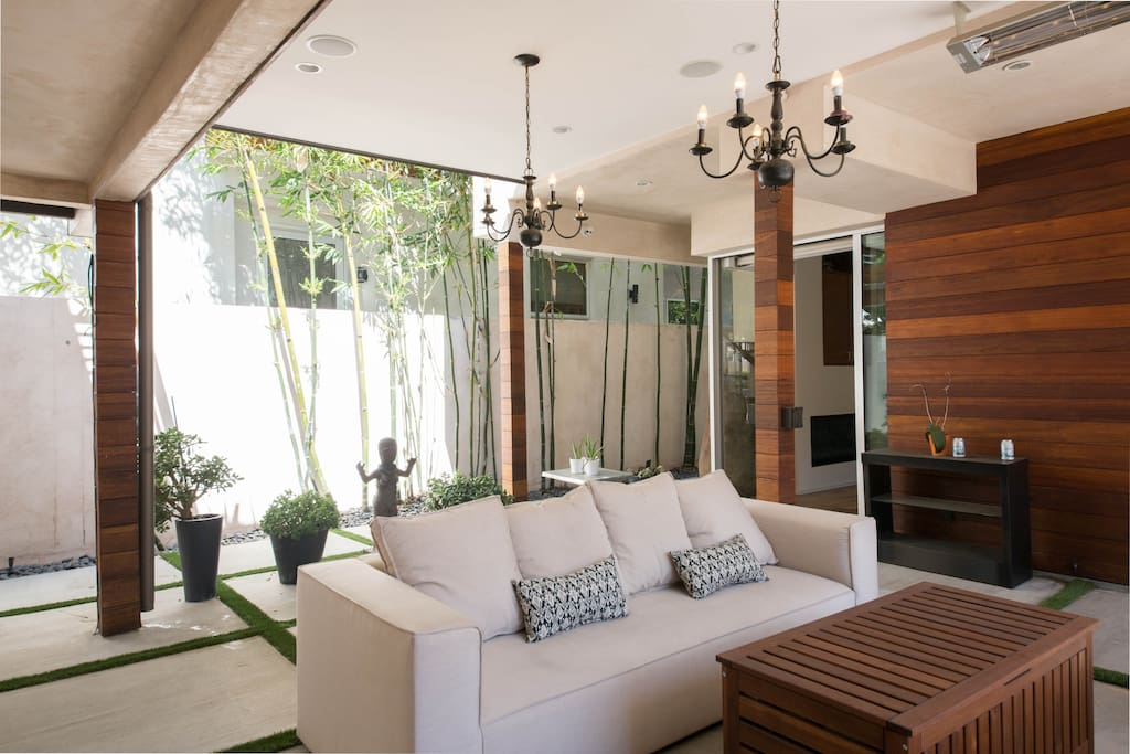 cozy outdoor Room & Board couches, with ceiling heaters to enjoy a beautiful LA evening
