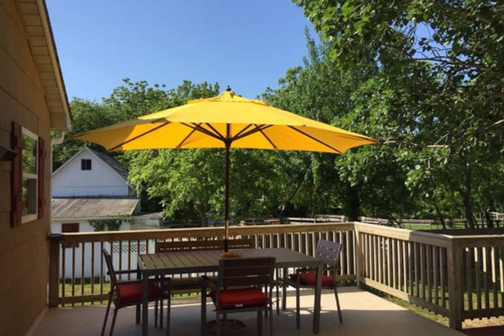 Our deck is quite large. You can enjoy a meal together on one side or...