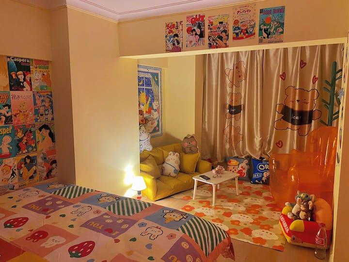 【期望和酒】loft复式/玩具屋/童趣房/火车站/可投影/可做饭