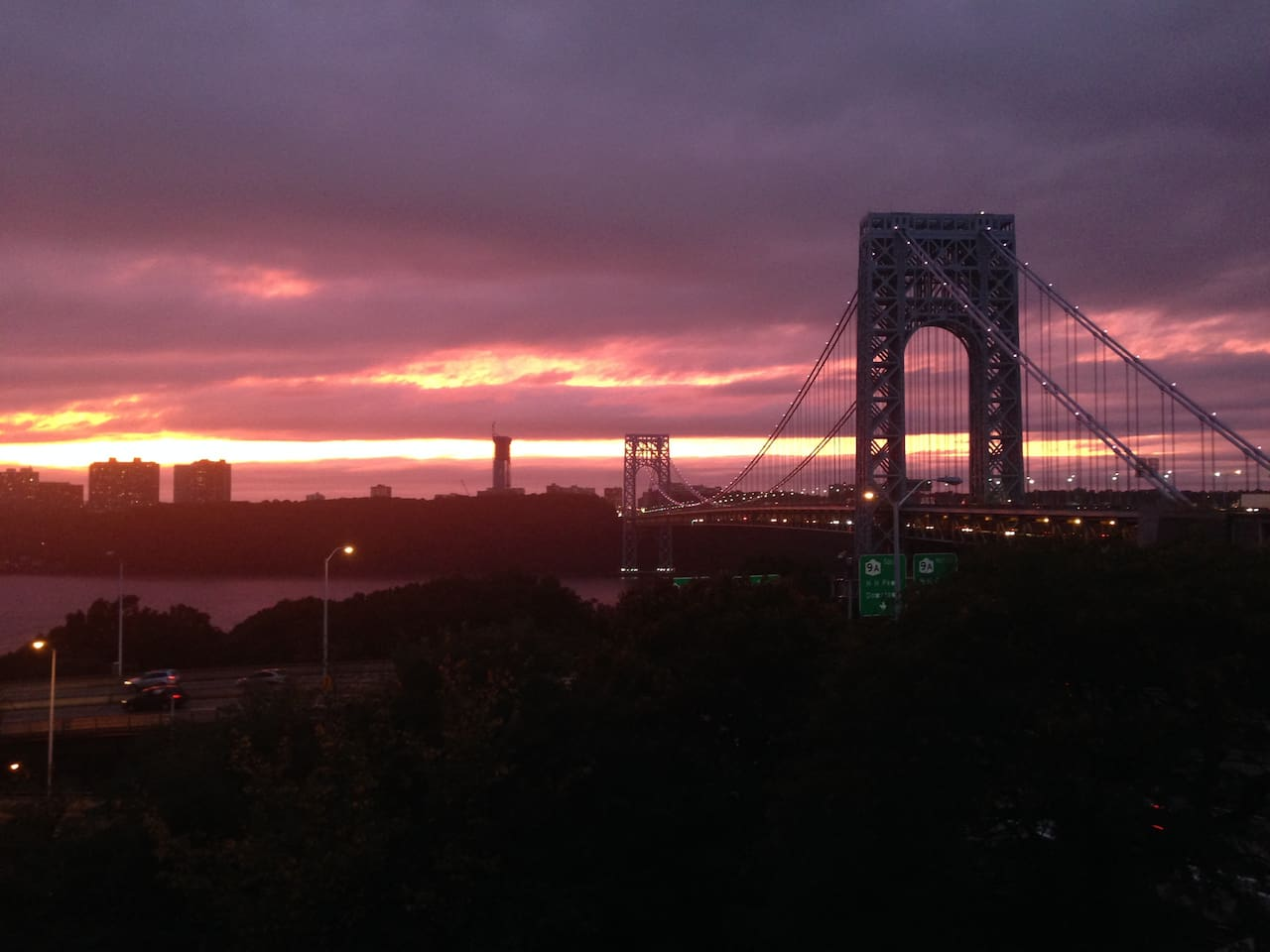 Sunset view of the Hudson River & George Washington Bridge