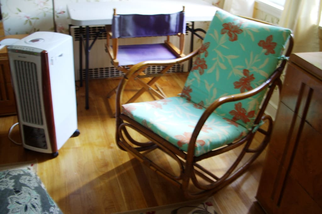 30s Rattan rocker with new cushions, portable cooling/heating unit, director's chair with large sturdy work table for your laptop computer work