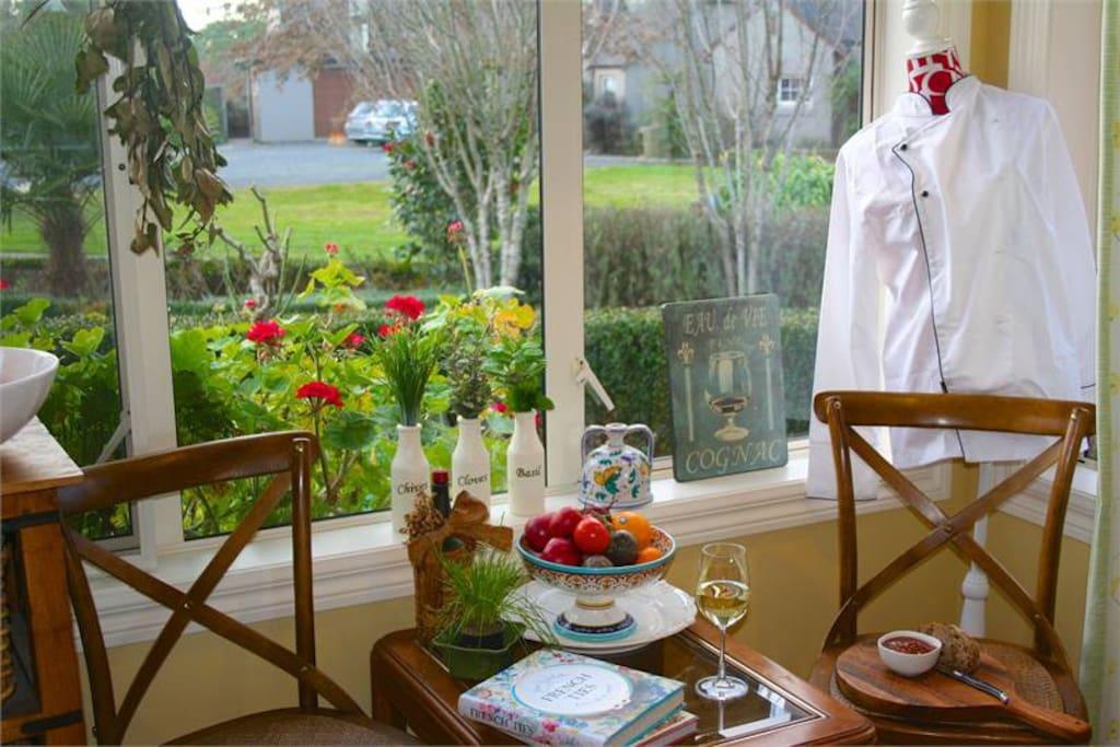 Kitchen overlooks stunning Garden