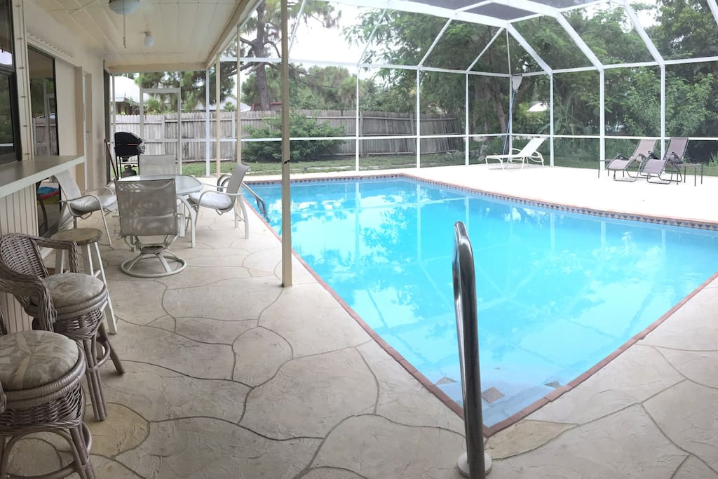 Our heated pool with lanai