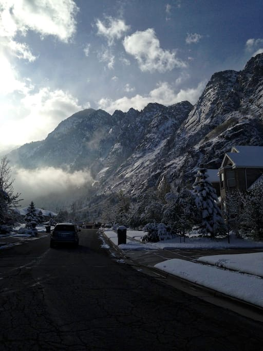 Quiet secluded street in Little Cottonwood Canyon