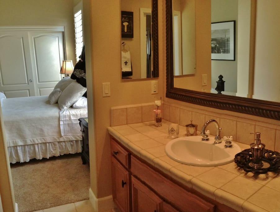 Clean, modern bathroom.  Freshen up in comfort.