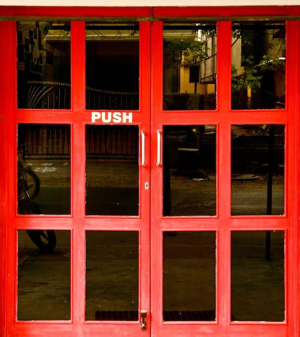 RED LOLLIPOP ENTERANCE DOOR