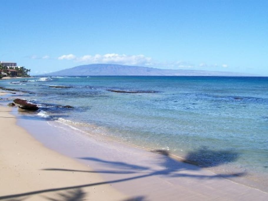 A view from one of the beautiful beaches at world famous resort area of Ka'anapali Beach. Within walking distance from our B&B.