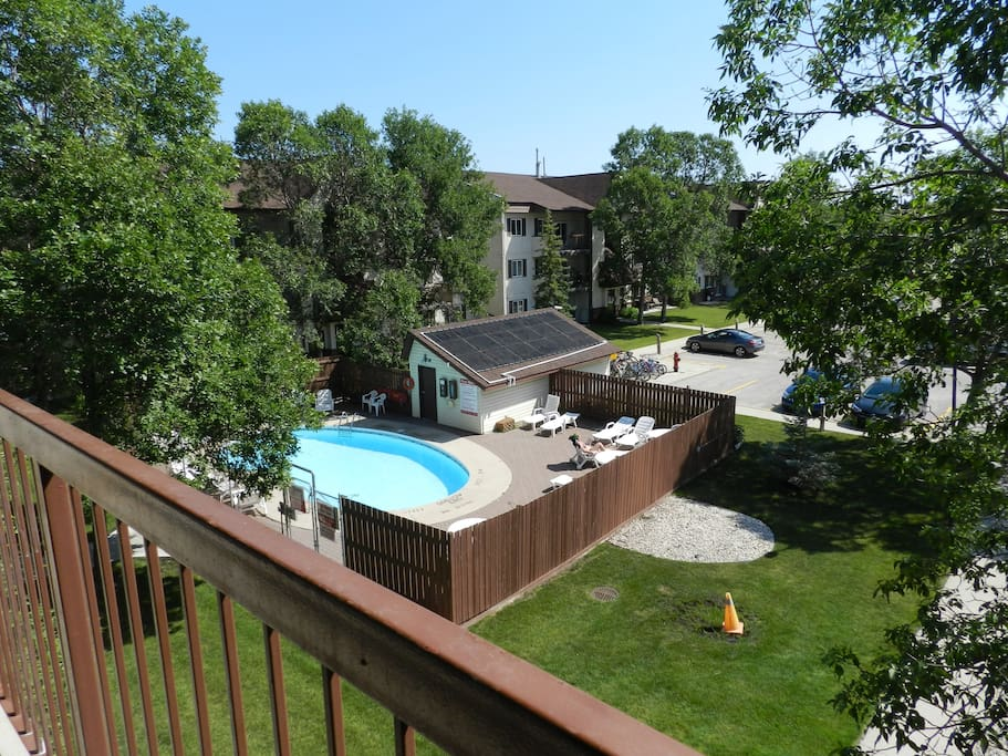 Beautiful view of the pool from a very spacious and comfortable balcony