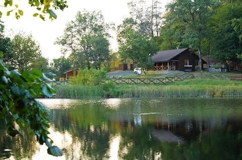 Отдых в лесу на берегу озера, баня, экологично