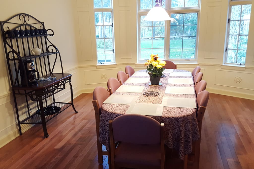 Dining room with beautiful back yard view