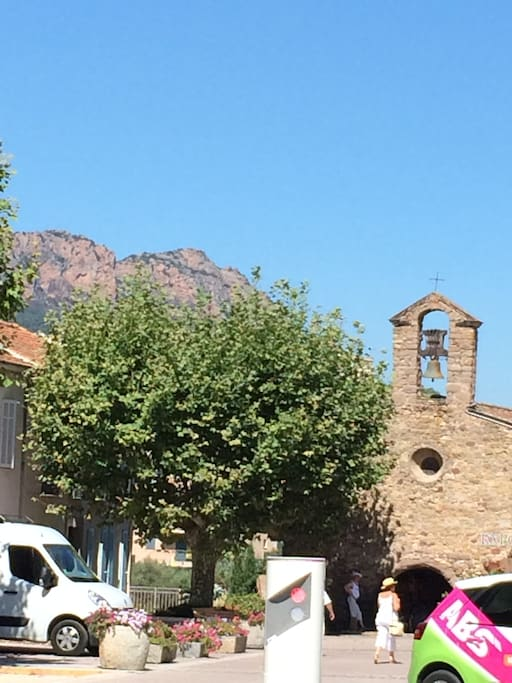 The village of Roquebrune with the medieval chapel in the background