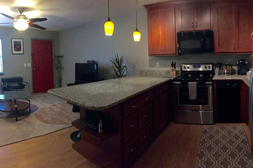 We have a full size and fully stocked kitchen with granite counter tops.