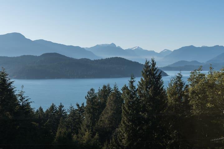 View of Howe Sound, Keats island and coastal mountains