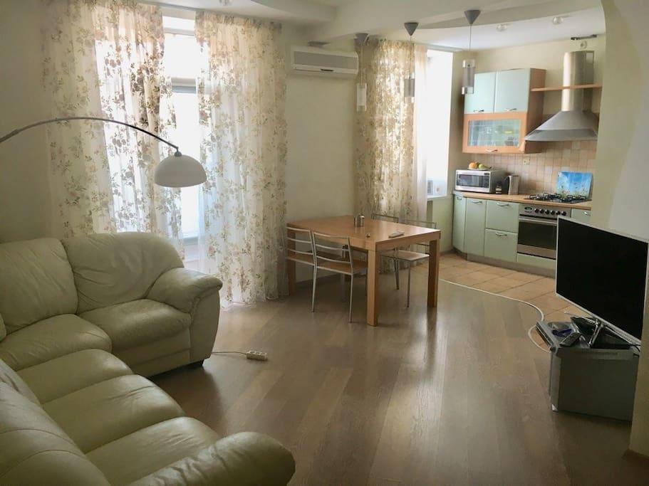 Студийная комната, зал совмещённый с кухней, раскладной диван-кровать, кондиционер, плазма .  На кухне имеется духовой шкаф, холодильник, чайник, микроволновая печь, газовая конфорка.