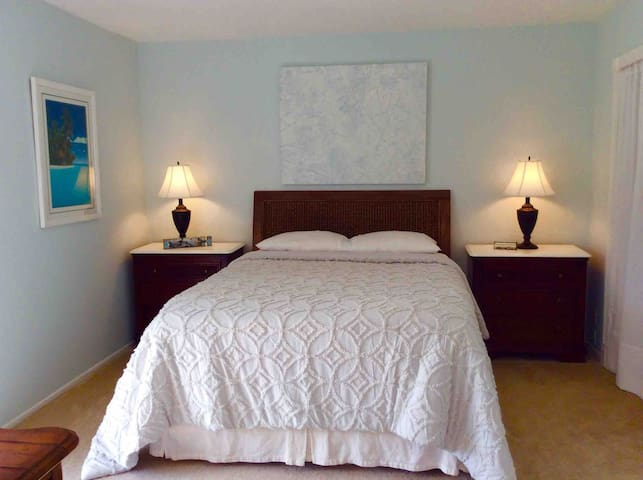 Serene master bedroom with very comfortable queen bed. 2 matching three drawer chest night stands, good storage and good lighting for reading in bed.