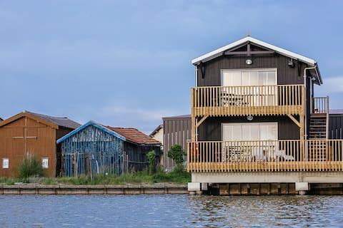 Cabane bois n°2 au bord de l'eau Bassin d'Arcachon