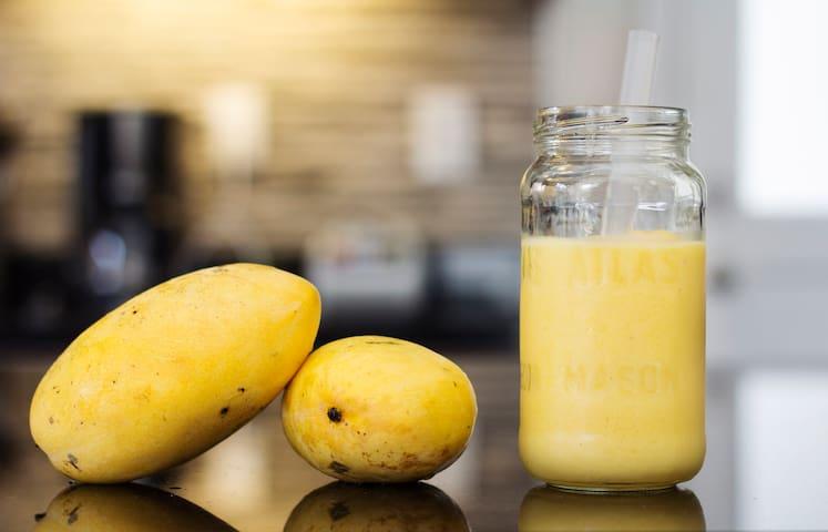 Enjoy your complimentary mango shake.