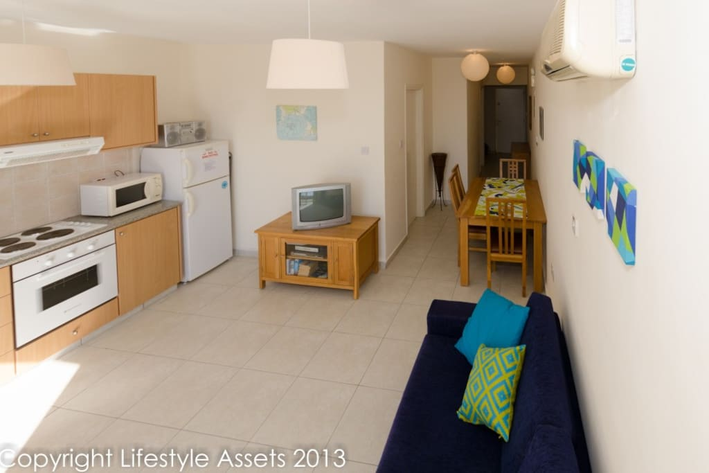 Spacious open plan air conditioned apartment
