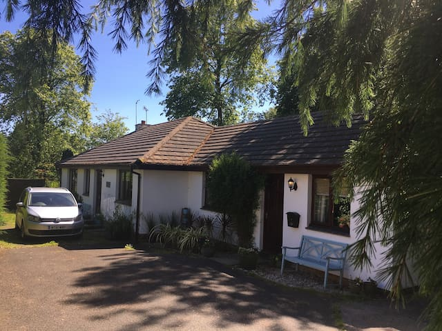 Midwood Lodge and Cottage with garden, parking and tree house.  Just 5 minutes walk to the beach and village.