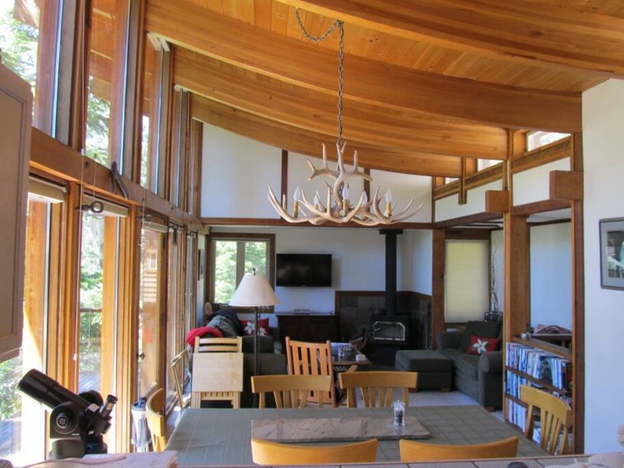Soaring roof provides an airy, spacious feeling with plenty of natural light.