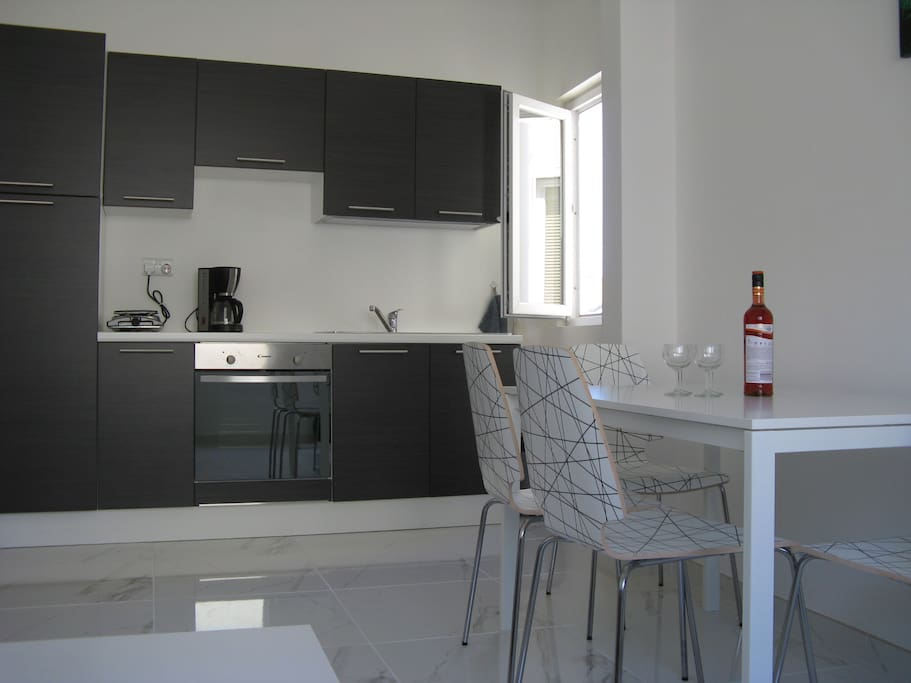Fitted kitchen and dining table