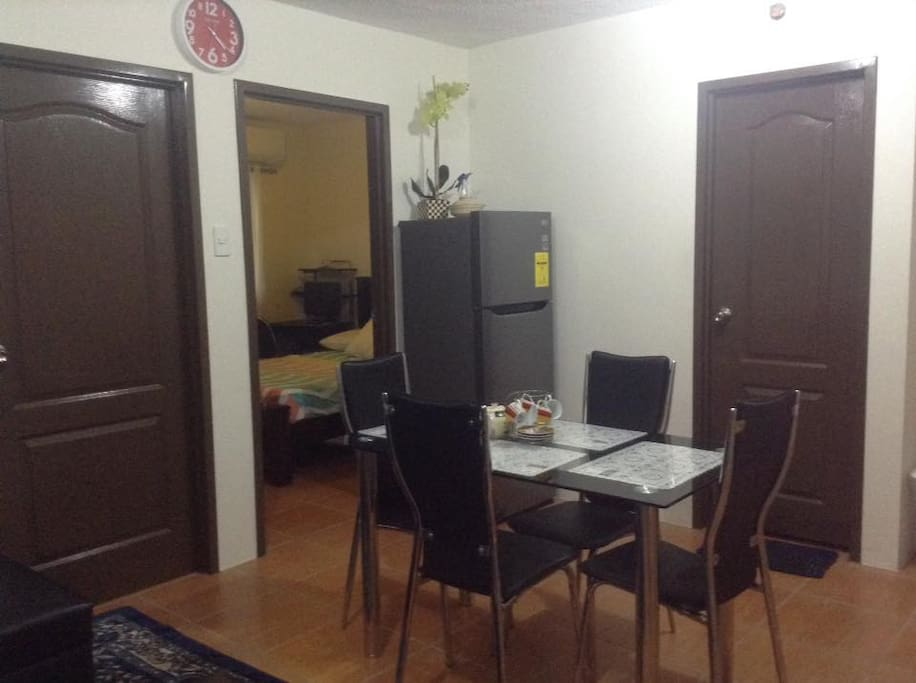 Dining & 2-Bedroom Entrance and Bathroom with Ref & dining table