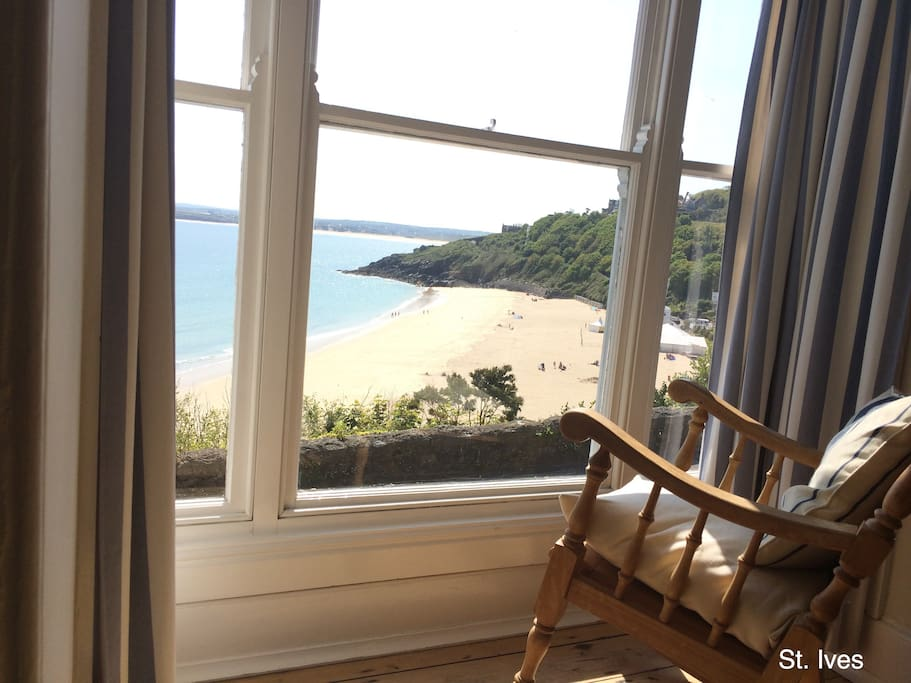The view from the sitting room overlooking Porthminster Beach.