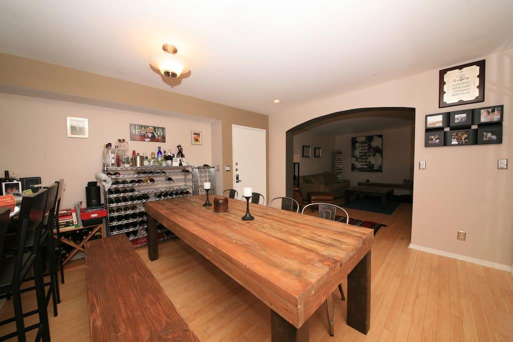 Dining Area - Barstools alongside Kitchen Counter.