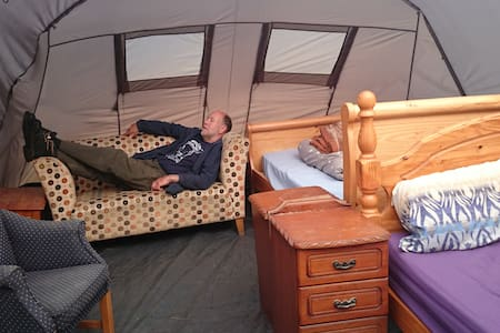 TENT WE 2 DOUBLE BEDS  IN SIDE