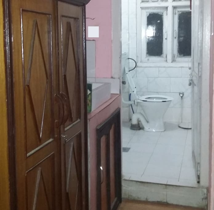 Attached bathroom and closet of the studio apartment.