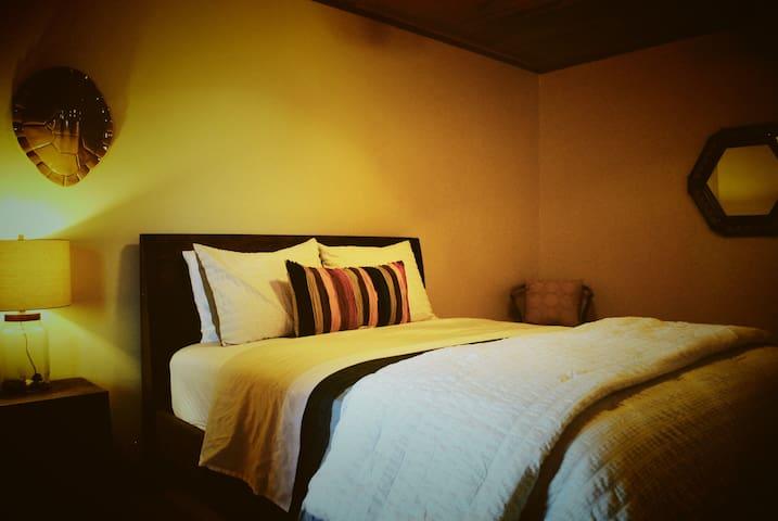 Bedroom 4, the turtle room, queen sized pillow top mattress