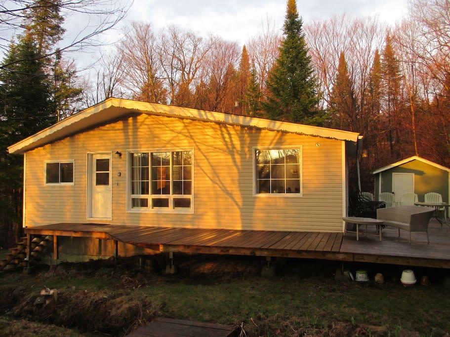 Evening sun shines into cottage