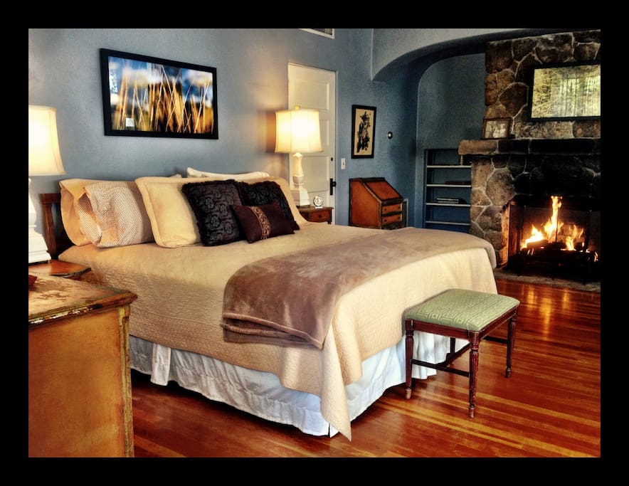 Roomy and very comfortable. This room features a king bed and stone fireplace. It's propane, so no need to mess with wood.
