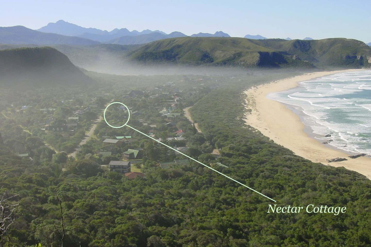Located in the Tsitsikamma National Park and nestled between sea, forest and lagoon. 75 metres from the beach.