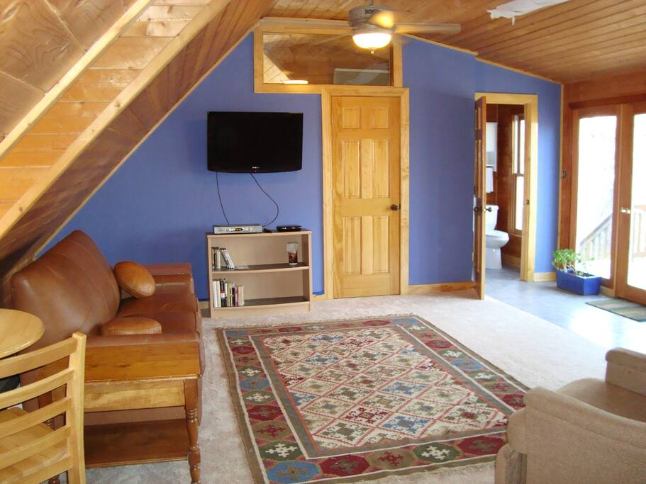 """Nest"" upstairs of woodland cottage, with cathedral ceiling and window wall opening to deck and exterior stairs, and doors leading to half bath and to interior stairway.  Wifi with high speed internet, tv with Roku box for streaming,  leather sofa bed, ceiling fan, light, and heater"