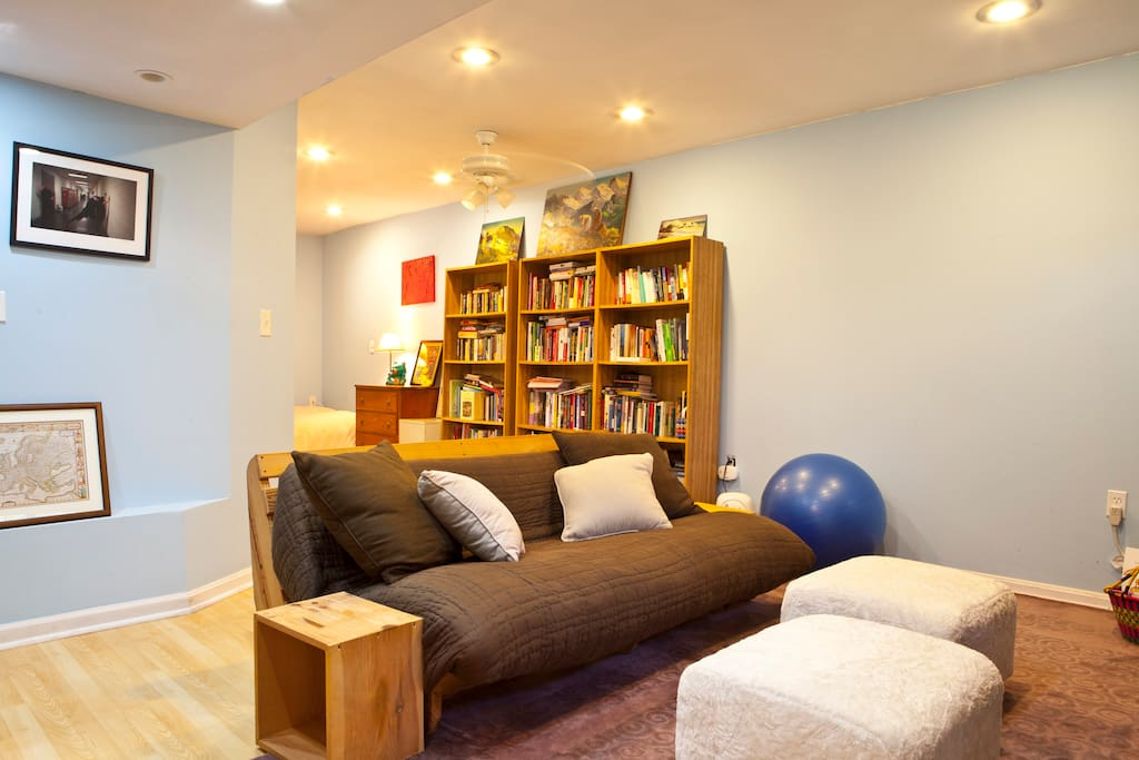 Private sitting area, also a second futon if you would like two beds