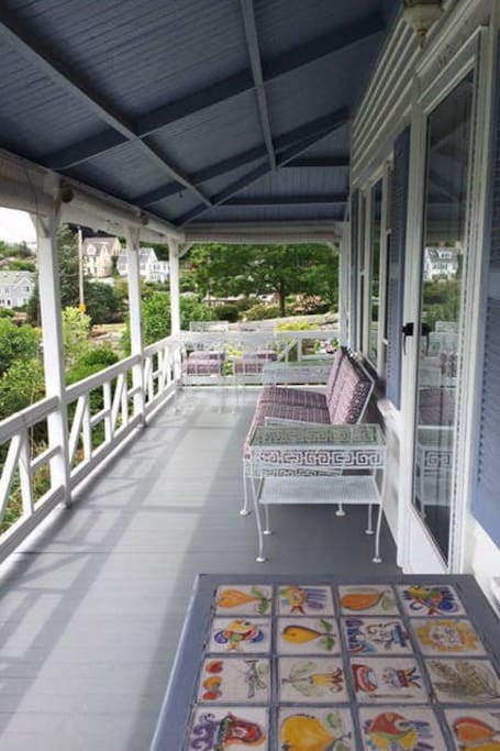 Front Porch overlooking the yacht club and Wingaersheek Beach