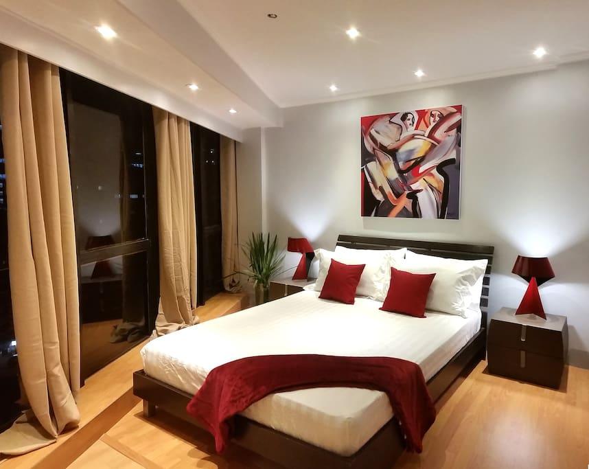 Night photo of bedroom