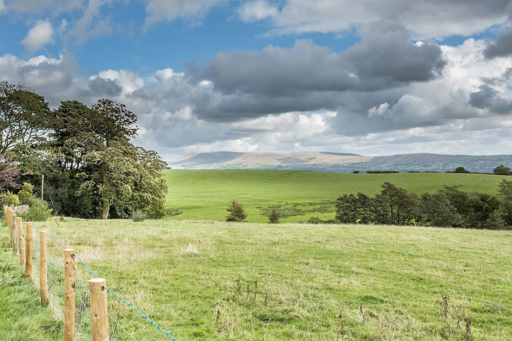 Views of Pendle Hill and the countryside