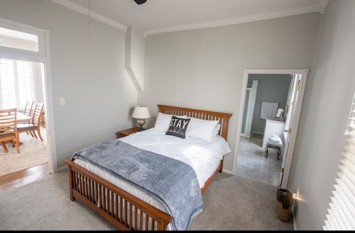 Master bedroom is connected to the bathroom.